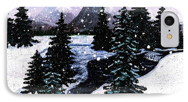 Snow And A Cold Mountain Brook Painterly  Phone Case by Barbara Griffin