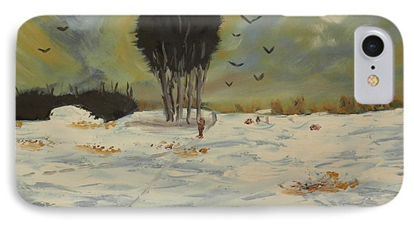 IPhone Case featuring the painting Snow At Christmas by Pamela  Meredith