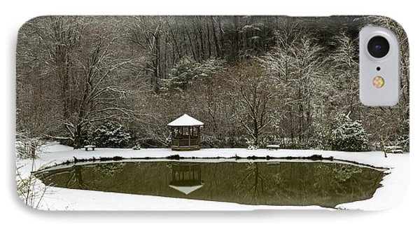 Snow At The Pond IPhone Case by Michael Waters