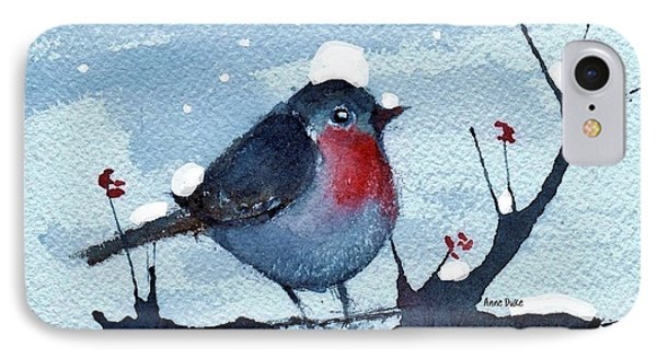 IPhone Case featuring the painting Snow Bird From Needles by Anne Duke