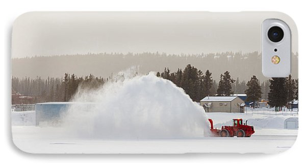 Snow Blower Clearing Road In Winter Storm Blizzard Phone Case by Stephan Pietzko