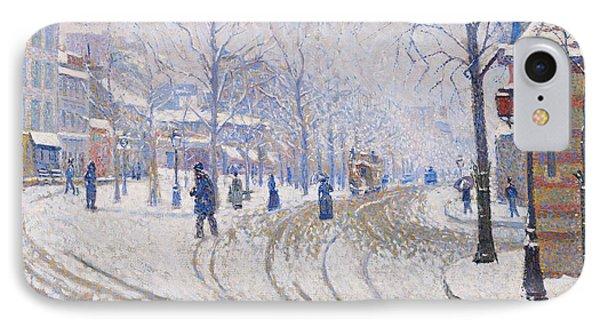 Snow  Boulevard De Clichy  Paris Phone Case by Paul Signac