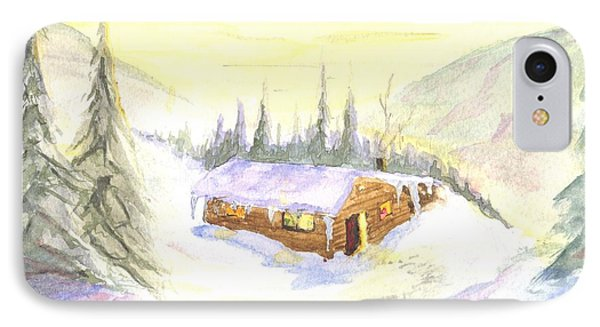 IPhone Case featuring the painting Snow Cabin Welcome by Sherril Porter
