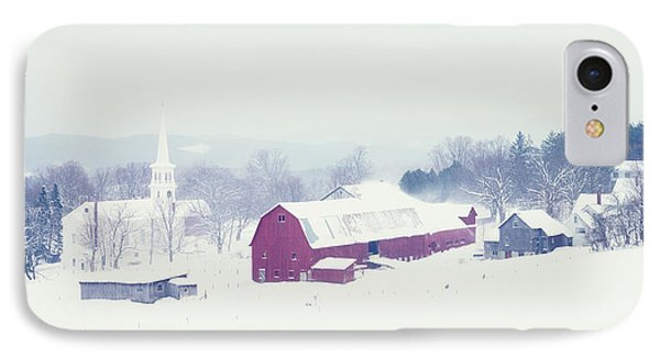 Snow Covered Barn And A Church IPhone Case by Panoramic Images