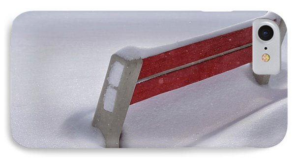 Snow Covered Bench Phone Case by Thomas Woolworth