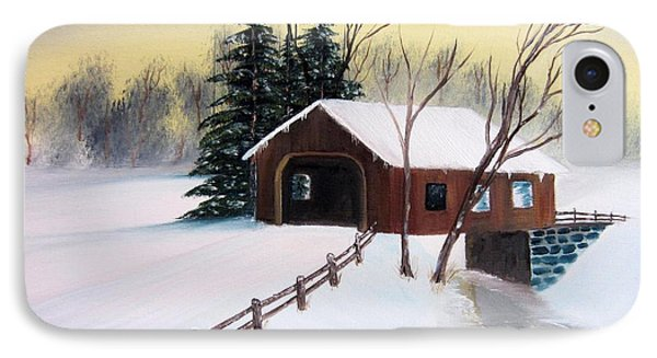 Snow Covered Bridge Phone Case by John Burch