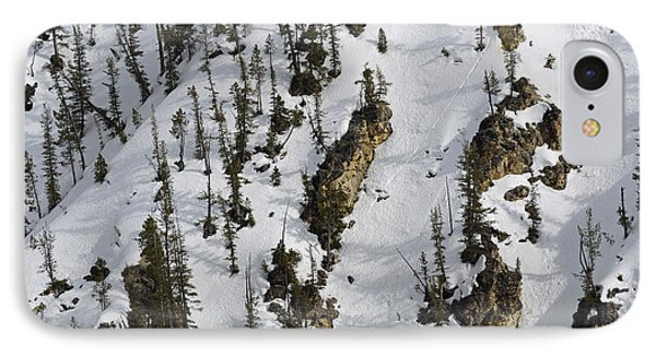 Snow-covered Canyon Walls In Yellowstone National Park Phone Case by Bruce Gourley