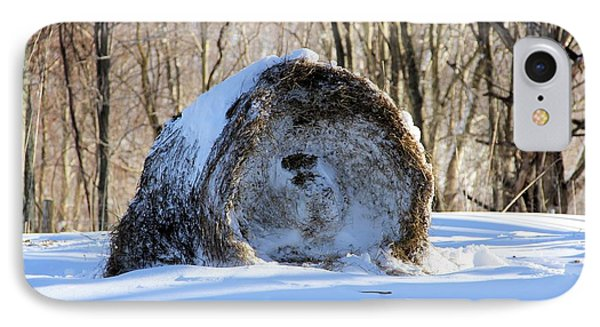 Snow Covered Hay Bale IPhone Case