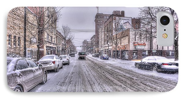 Snow Covered High Street And Cars In Morgantown IPhone Case by Dan Friend