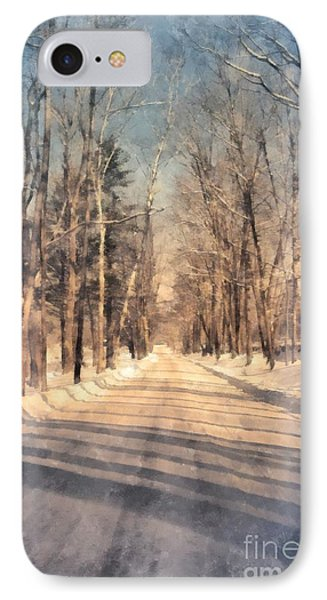 Snow Covered New England Road IPhone Case by Edward Fielding