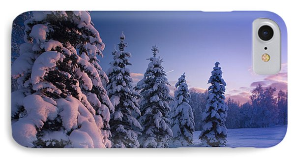 Snow Covered Spruce Trees At Sunset IPhone Case by Kevin Smith