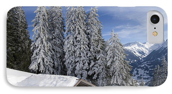 Snow Covered Trees And Mountains In Beautiful Winter Landscape Phone Case by Matthias Hauser
