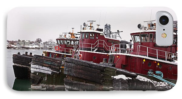 Snow Covered Tugs IPhone Case by Eric Gendron