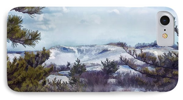 IPhone Case featuring the photograph Snow Covered Dunes by Constantine Gregory
