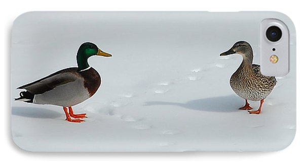 IPhone Case featuring the photograph Snow Ducks by Mim White