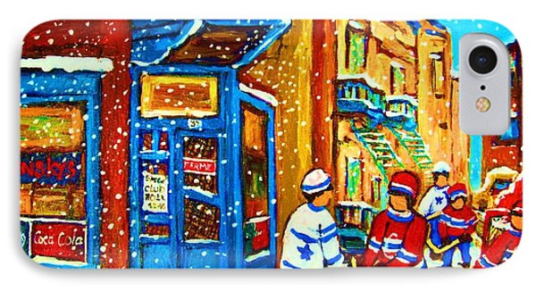 Snow Falling On The Game Phone Case by Carole Spandau