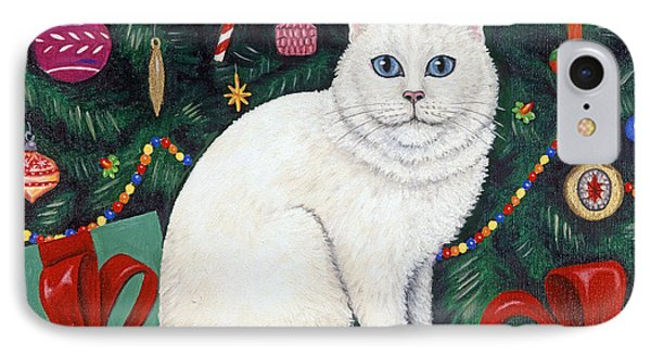 Snow Flake The Cat Phone Case by Linda Mears