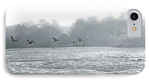 IPhone Case featuring the digital art Snow And Geese by David Davies