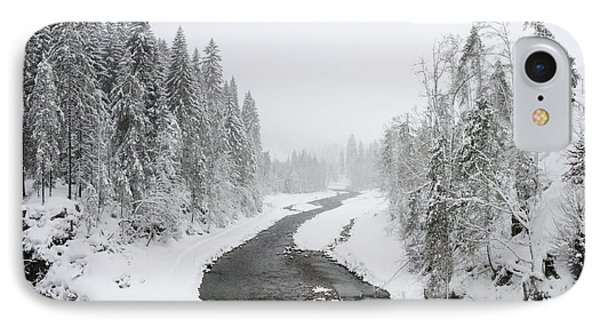 Snow Landscape - Trees And River In Winter Phone Case by Matthias Hauser