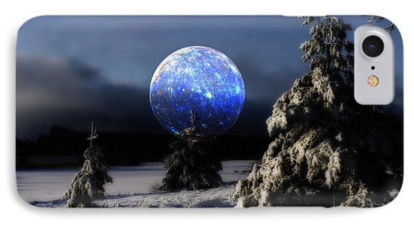 Snow Landscape With Large Surreal Full Moon IPhone Case by Christian Lagereek