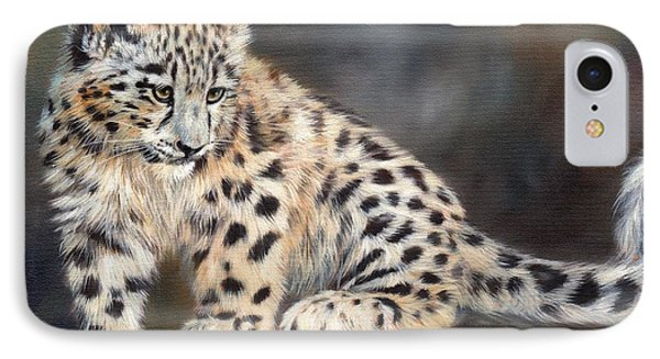Snow Leopard Cub IPhone Case by David Stribbling