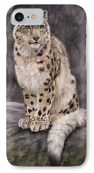 Snow Leopard Sentry IPhone Case by David Stribbling