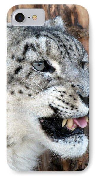Snow Leopard Snarl Phone Case by Ramona Johnston