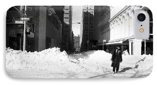 Snow On Broadway 1990s Phone Case by John Rizzuto
