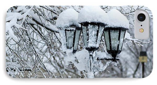 Snow On Lamps IPhone Case by Jessie Parker