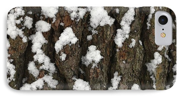 Snow On Pine Bark IPhone Case by Jim Gillen