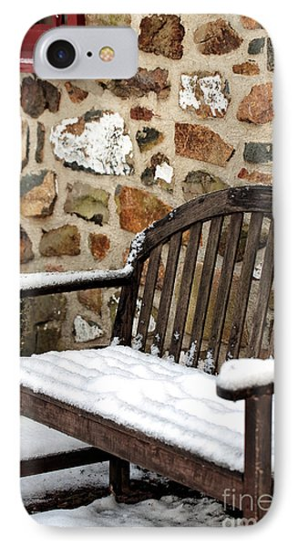 Snow On The Bench IPhone Case by John Rizzuto