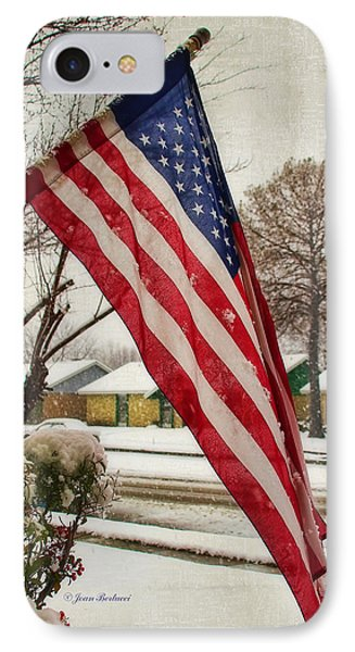 IPhone Case featuring the photograph Snow On The Flag by Joan Bertucci