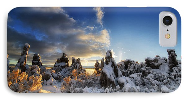 Snow On Tufa At Mono Lake Phone Case by Peter Dang