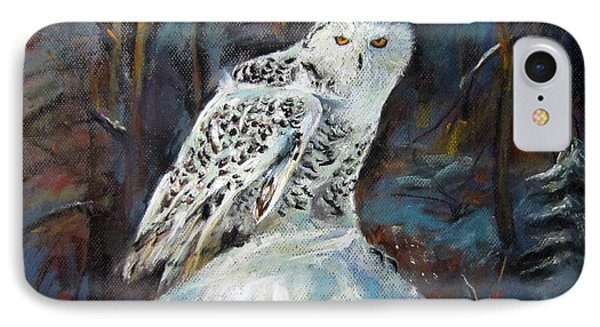 IPhone Case featuring the painting Snow Owl by Jieming Wang