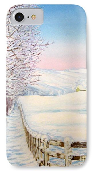 IPhone Case featuring the painting Snow Path by Inese Poga