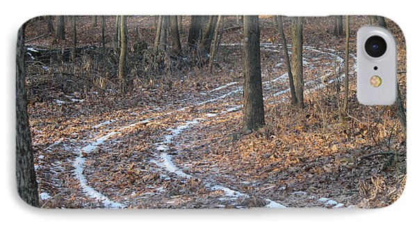 Snow Path Winding Through The Woods Phone Case by Annette Gendler