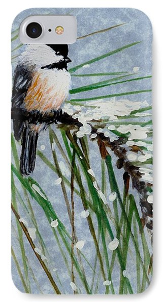 Snow Pine Chickadee Detail Print Bird 1 IPhone Case by Kathleen McDermott