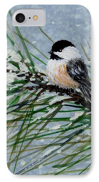 IPhone Case featuring the painting Snow Pine Chickadee Detail Print Bird 2 by Kathleen McDermott