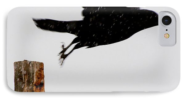 IPhone Case featuring the photograph Snow Raven Blurr by Britt Runyon