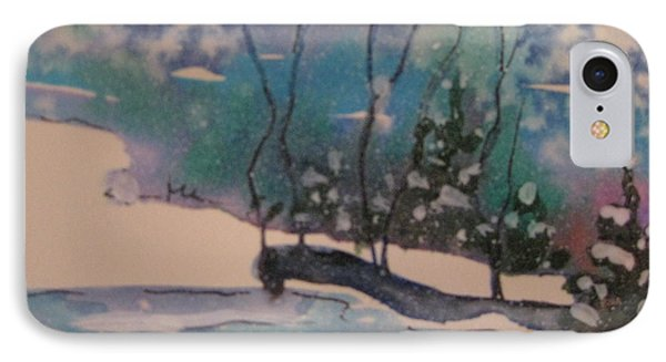 IPhone Case featuring the painting Snow Reflections by Gretchen Allen