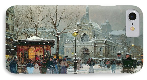 Snow Scene In Paris IPhone Case by Eugene Galien-Laloue