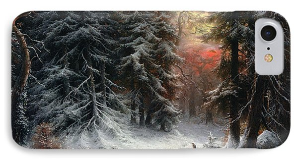 Snow Scene In The Black Forest IPhone Case