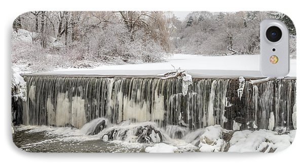 Snow Sleet And Freezing Rain On The Falls IPhone Case by Stroudwater Falls Photography