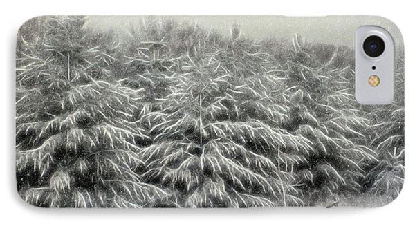Snow Trees And Fox Textured IPhone Case by Clare VanderVeen