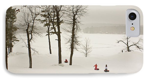 IPhone Case featuring the photograph Snow Tubing In The Poconos by Ann Murphy