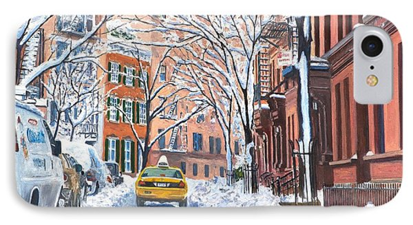 Snow West Village New York City IPhone Case by Anthony Butera