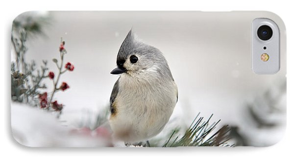 Snow White Tufted Titmouse Phone Case by Christina Rollo