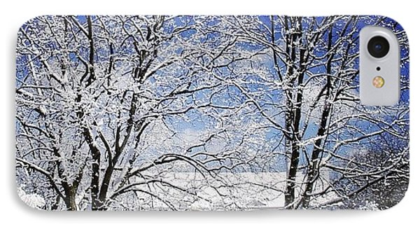 #snow #winter #house #home #trees #tree IPhone Case by Jill Battaglia