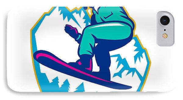 Snowboarder Holding Snowboard Alps Retro IPhone Case