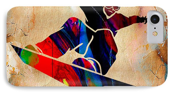 Snowboarder Painting IPhone Case by Marvin Blaine